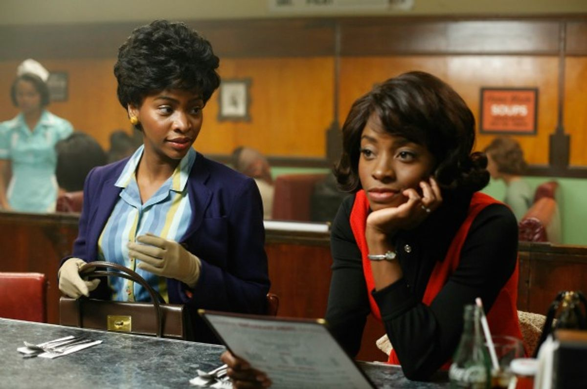 """Dawn (Teyonah Parris) and Nikki (Idara Victor), from """"Mad Men"""" season 6 episode """"To Have and To Hold""""    (Jordin Althaus/amc)"""