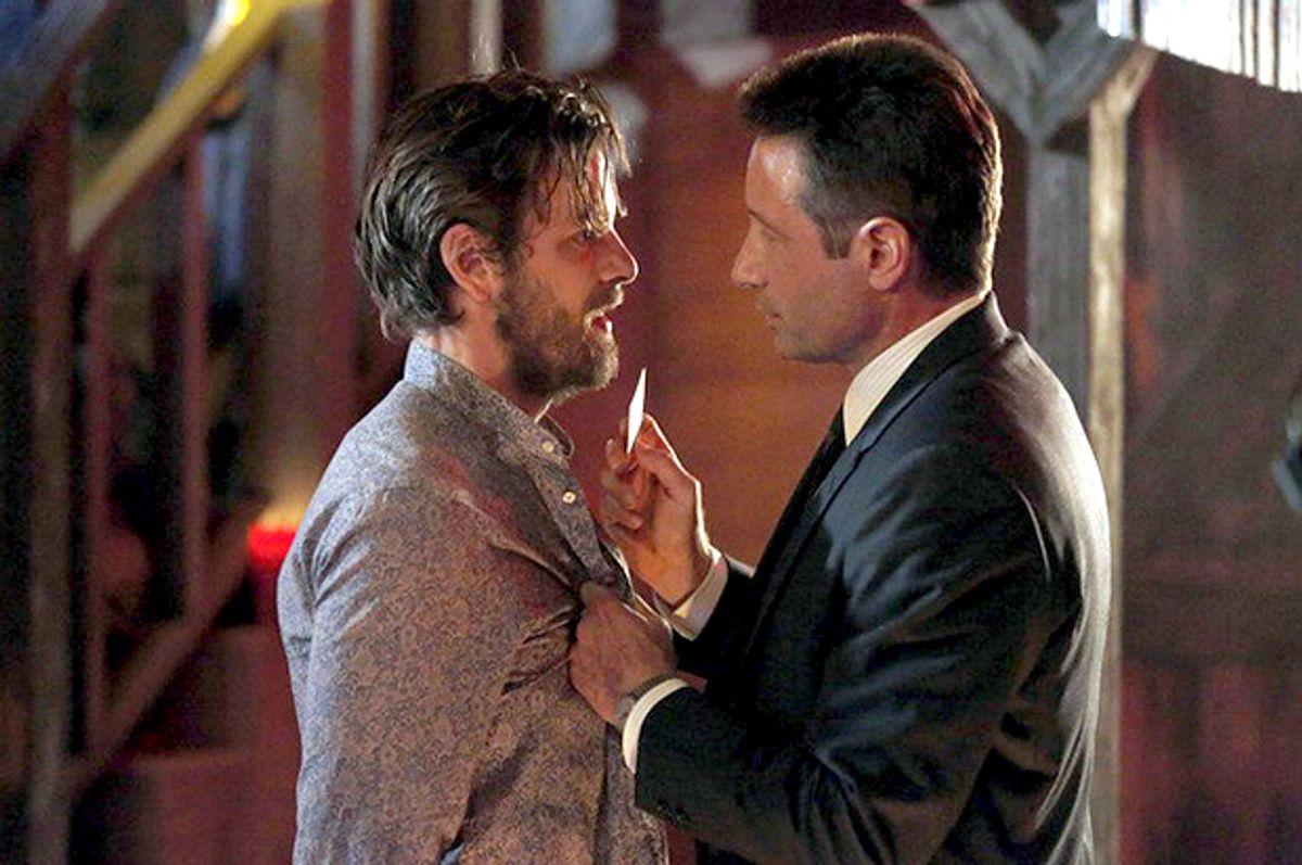 "Gethin Anthony as Charles Manson, David Duchovney as Sam Hodiak in ""Aquarius""        (NBC)"