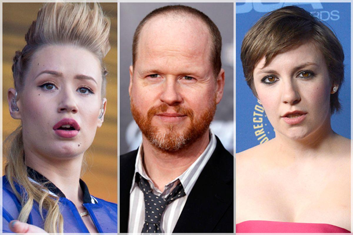 Iggy Azalea, Joss Whedon, Lena Dunham       (AP/Reuters/Joel Ryan/Danny Moloshok/Phil McCarten)