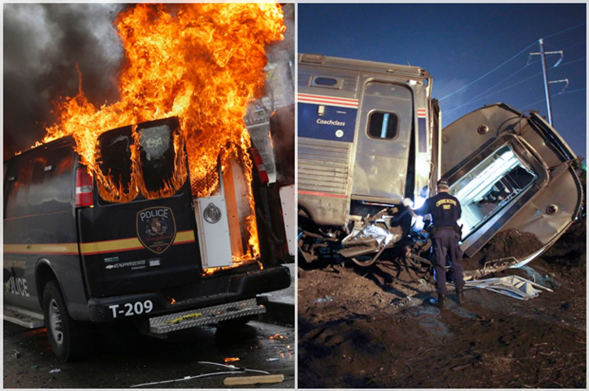 A Baltimore Metropolitan Police vehicle burns in Baltimore, April 27, 2015; the Amtrak train wreck, May 12, 2015, in Philadelphia.           (Reuters/Shannon Stapleton/AP/Joseph Kaczmarek)