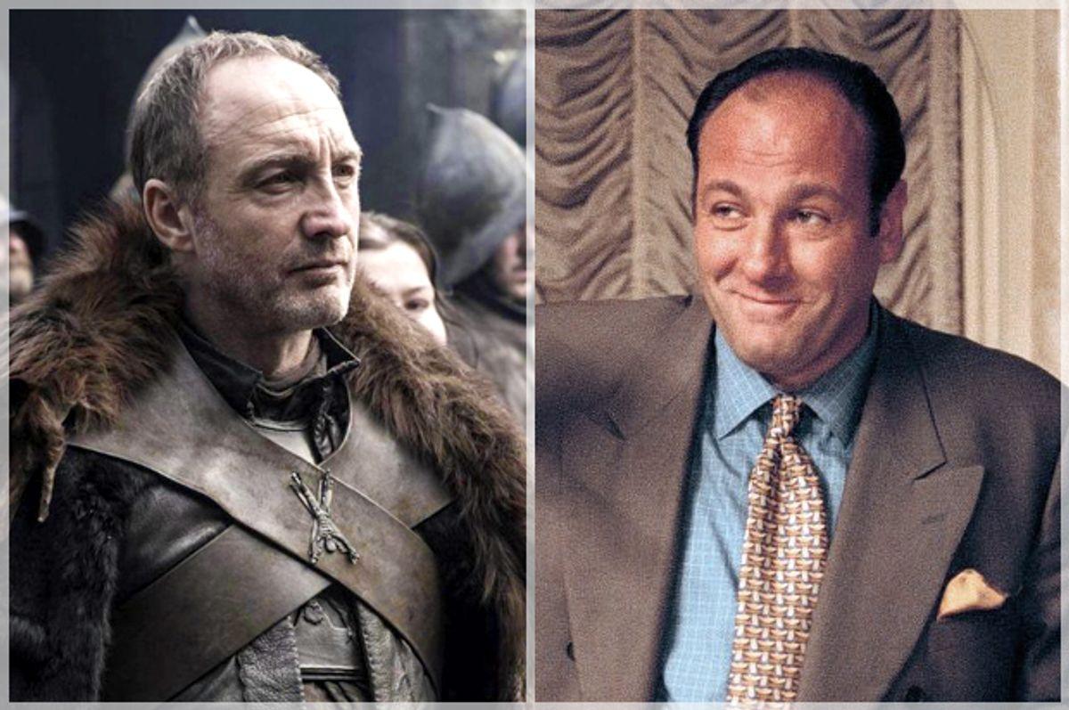"Michael McElhatton in ""Game of Thrones,"" James Gandolfini in ""The Sopranos""      (HBO)"