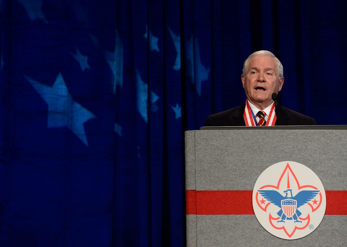 FILE - In this Friday, May 23, 2014 file photo, former Defense Secretary Robert Gates addresses the Boy Scouts of America's annual meeting in Nashville, Tenn., after being selected as the organization's new president. On Thursday Gates said that the organization's longstanding ban on participation by openly gay adults is no longer sustainable, and called for change in order to avert potentially destructive legal battles. (AP Photo/Mark Zaleski, File) (AP)