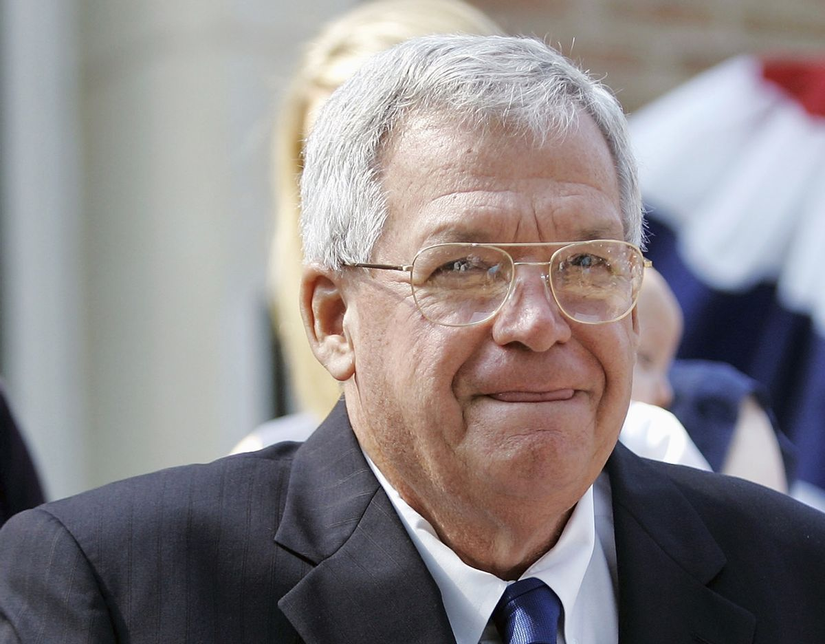 FILE - In this Aug. 17, 2007, file photo, former House Speaker Dennis, Hastert, R-Ill., announces that he will not seek re-election for a 12th term in Yorkville, Ill. Federal prosecutors have indicted Thursday, May 28, 2015, the former U.S. House Speaker on bank-related charges.  (AP/Brian Kersey)