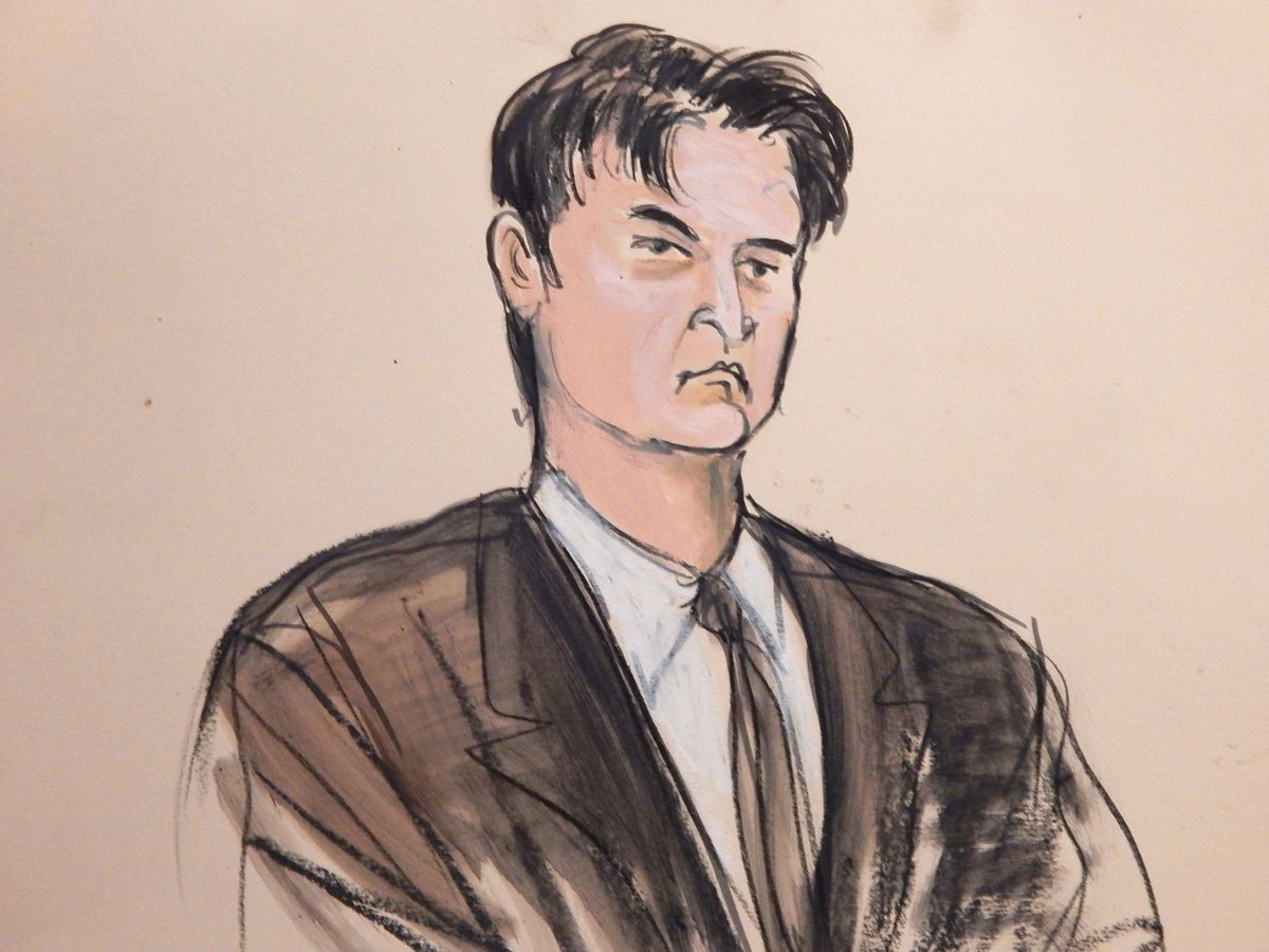 """FILE - This Feb 4, 2015, file courtroom sketch, shows defendant Ross William Ulbricht as the deputy recites the word """"guilty"""" multiple times during Ubricht's trial in New York. Ulbricht is set to be sentenced Friday, May 29, 2015, after his February Manhattan federal court conviction. (AP Photo/Elizabeth Williams, File) (AP)"""