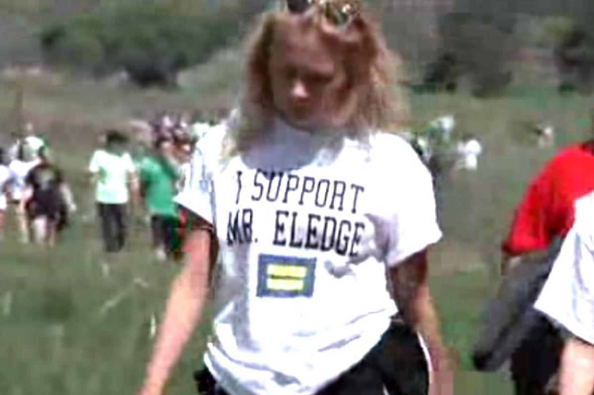 Skutt Catholic High School protester (Screen shot)