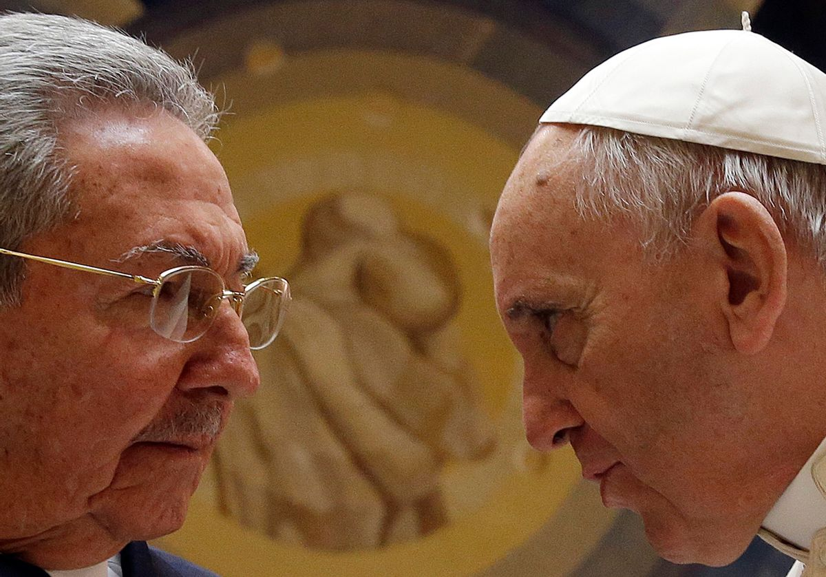 FILE - In this file photo released on Monday, May 11, 2015, Pope Francis meets Cuban President Raul Castro during a private audience at the Vatican, Sunday, May 10, 2015. Cuban President Raul Castro has been welcomed at the Vatican by Pope Francis, who played a key role in the breakthrough between Washington and Havana aimed at restoring U.S.-Cuban diplomatic ties. (Gregorio Borgia, File Pool Photo via AP) (AP)