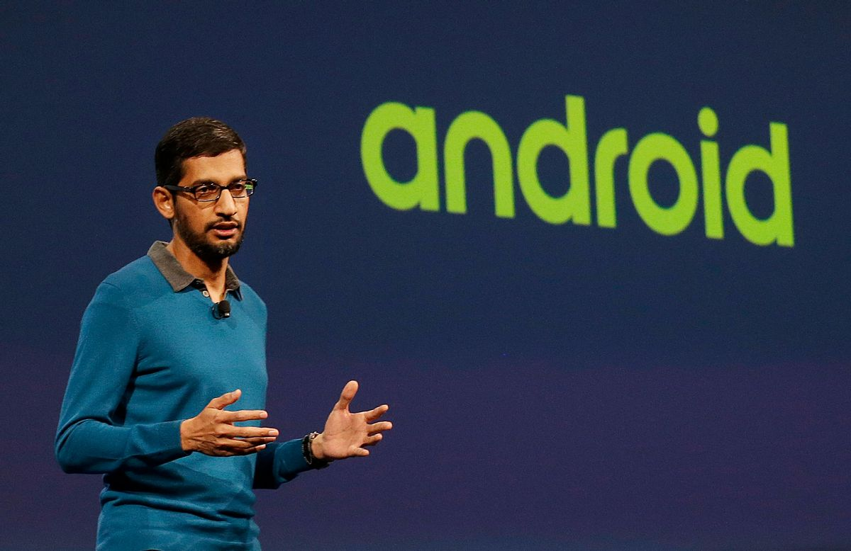 Sundar Pichai, senior vice president of Android, Chrome and Apps, speaks during the Google I/O 2015 keynote presentation in San Francisco, Thursday, May 28, 2015.  (AP Photo/Jeff Chiu) (AP)