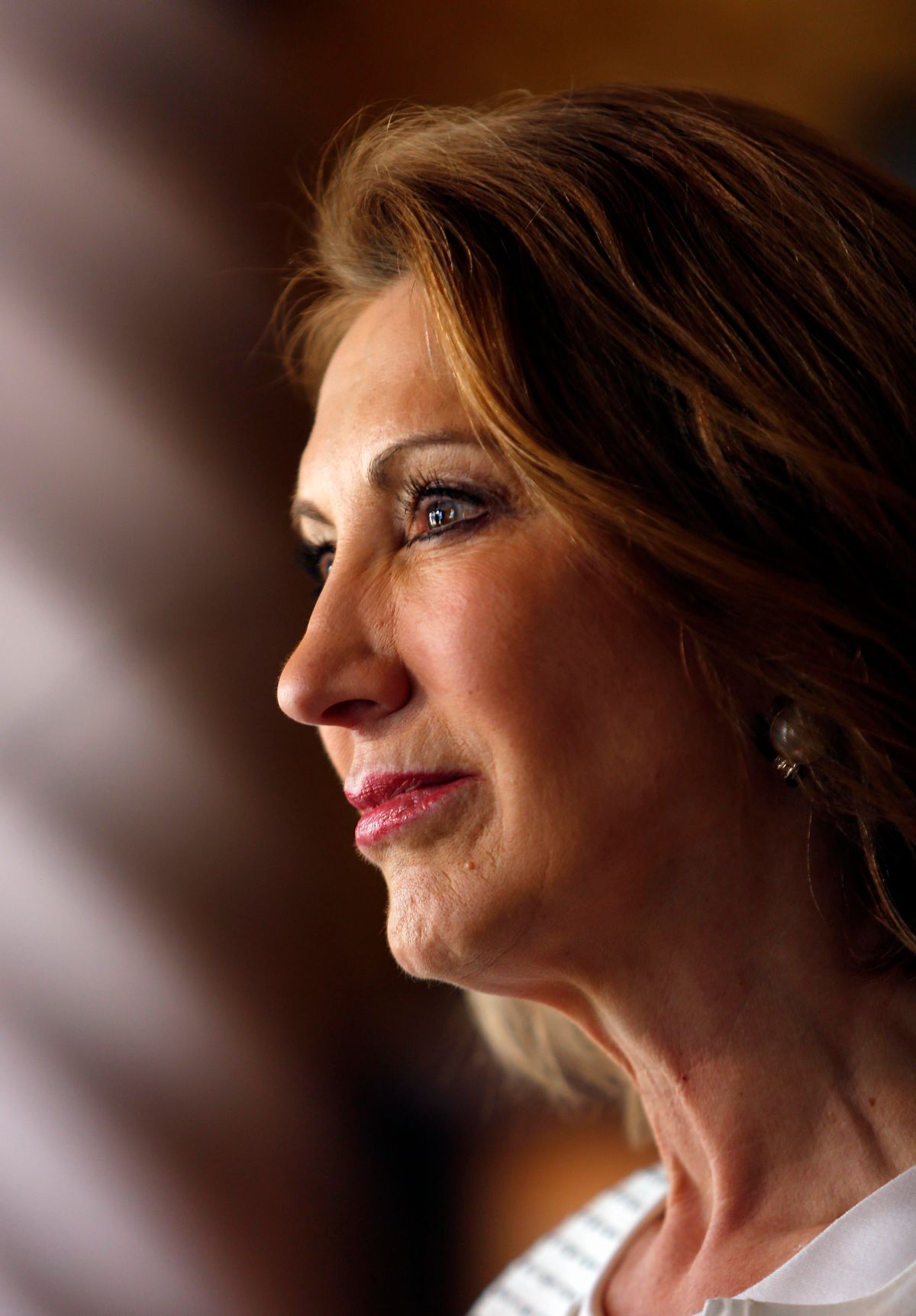 Republican presidential candidate, former Hewlett-Packard  CEO Carly Fiorina is seen at a luncheon hosted by the Derry Republican Town Committee, Tuesday, May 26, 2015, in Derry,NH (AP Photo/Jim Cole)  (AP)
