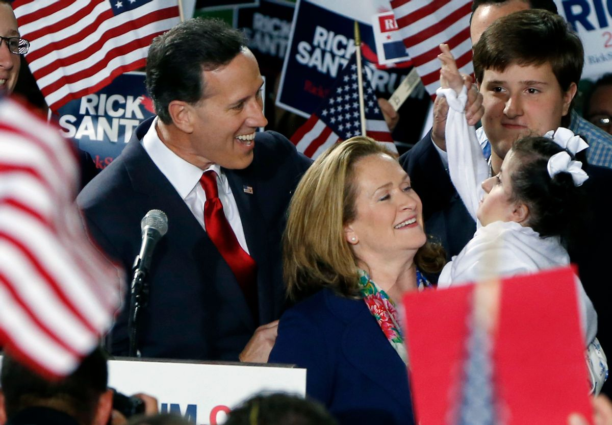 Former U.S. Sen. Rick Santorum, left, and his wife Karen, center, talk with his daughter Bella, right, as he announces his candidacy for the Republican nomination for President of the United States in the 2016 election on Wednesday, May 27, 2015 in Cabot, Pa. (AP Photo/Keith Srakocic) (AP)