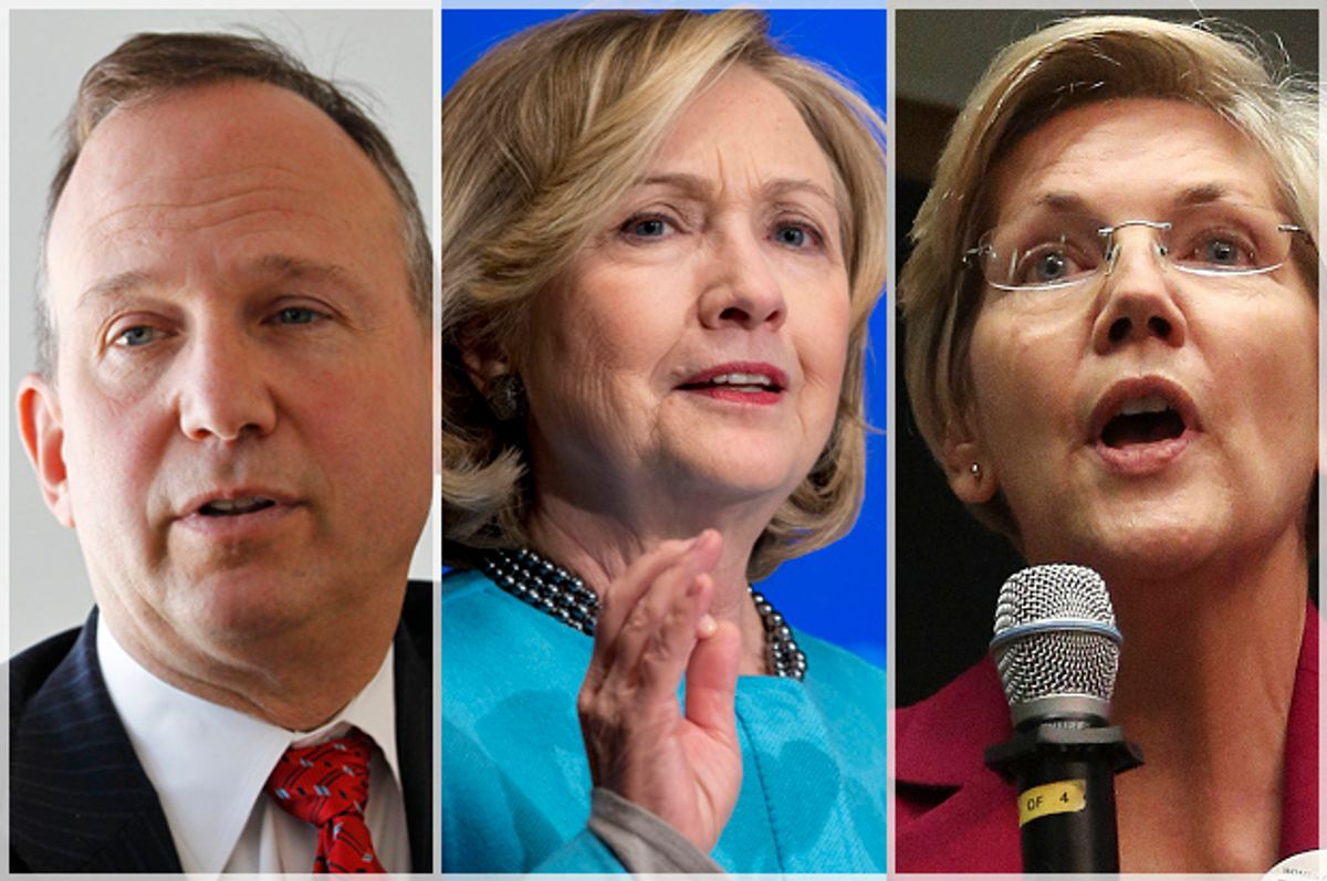 Jack Markell, Hillary Clinton, Elizabeth Warren           (AP/Reuters/Brendan Mcdermid/Carolyn Kaster/Brennan Linsley)