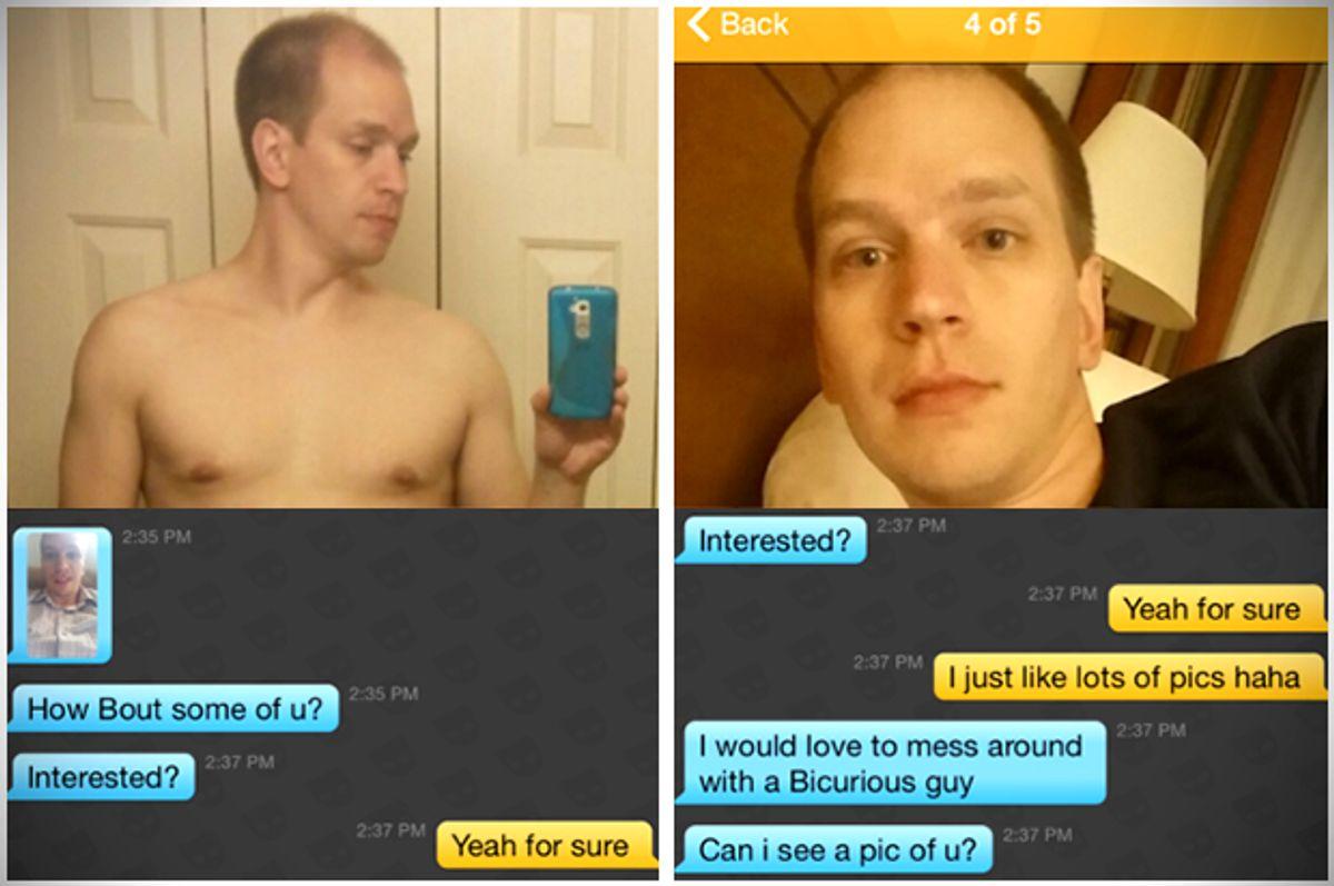 Screengrabs of Matthew Makela's Grindr messages       (Grindr/Queerty)