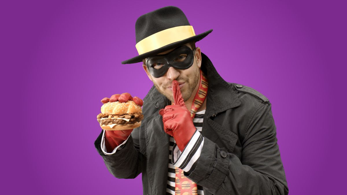 In this undated product image provided by McDonald's one of the McDonald's mascots the Hamburglar poses for a photo. The company is bringing the burger thief back to its advertising after a 13-year absence. On Wednesday, May 6, 2015, McDonald's Corp. tweeted a 30-second ad featuring the Hamburglar, his face unseen, flipping burgers in a suburban backyard with his wife and son. (McDonald's via AP) (AP)