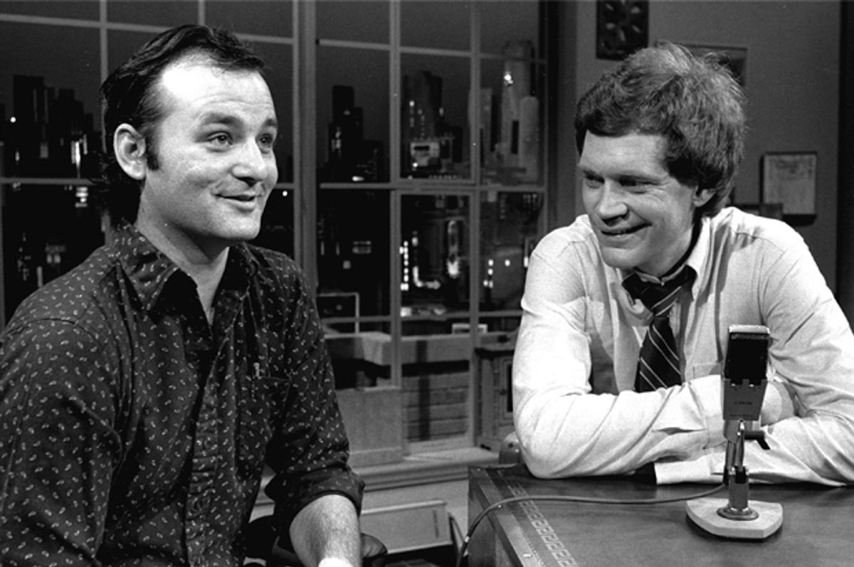 """David Letterman at the taping of his first talk-comedy hour """"Late Night with David Letterman"""" with guest Bill Murray, February 1, 1982.     (AP/Nancy Kaye)"""