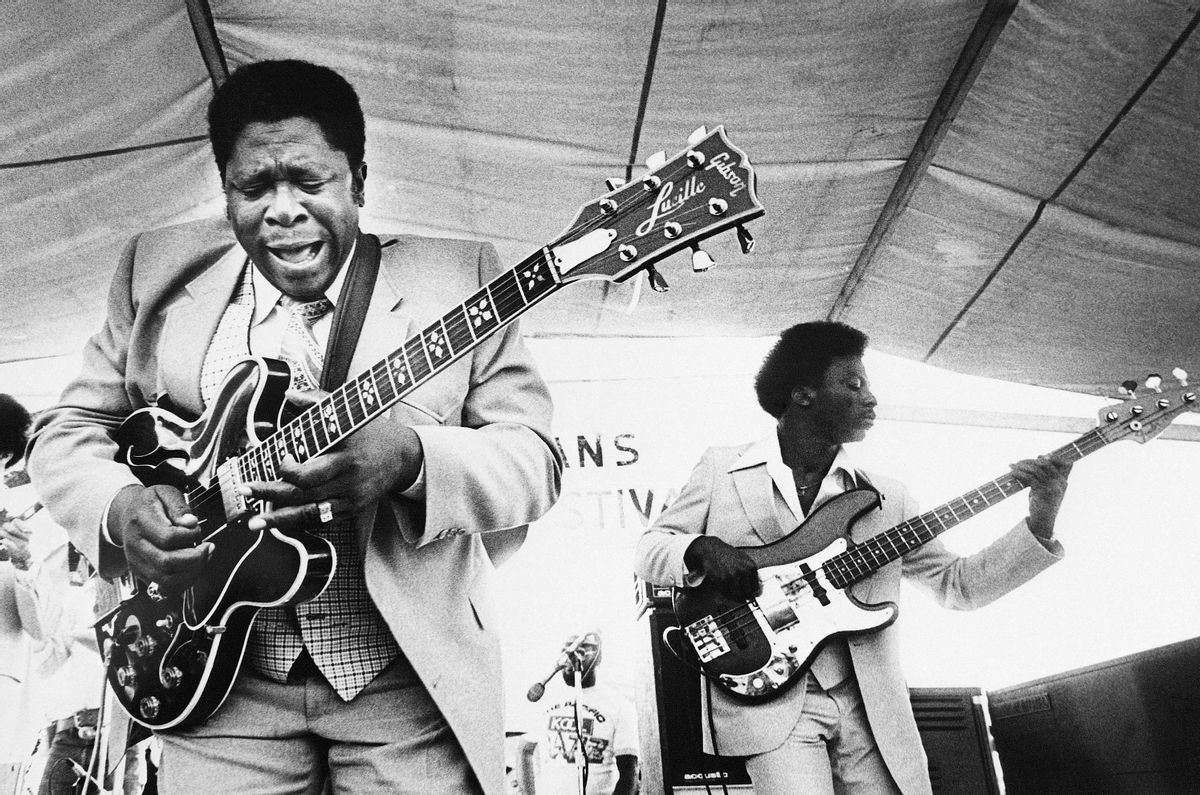 FILE - In this April 21, 1980 file photo, B.B. King, left, and an accompanist perform during the opening of the 1980 New Orleans Jazz and Heritage Festival.  King died Thursday, May 14, 2015, peacefully in his sleep at his Las Vegas home at age 89, his lawyer said.    (AP Photo, File) (AP)