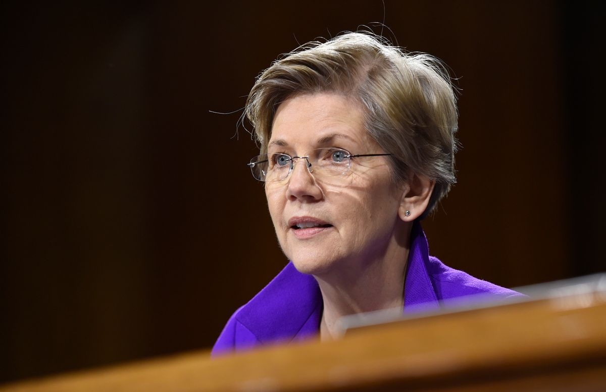 FILE - In this Feb. 24, 2015 file photo, Sen. Elizabeth Warren, D-Mass. is seen on Capitol Hill in Washington. Senate leaders said Tuesday that Democrats have enough votes to block action on President Barack Obama's trade initiatives unless the parties can work out disagreements on how to package various bills. Democratic Sen. Sherrod Brown of Ohio, a strong opponent of Obama's trade agenda, said Democrats have more than enough votes to block action for now. Senate Majority Leader Mitch McConnell, a Kentucky Republican, agreed.  (AP Photo/Susan Walsh, File) (AP)
