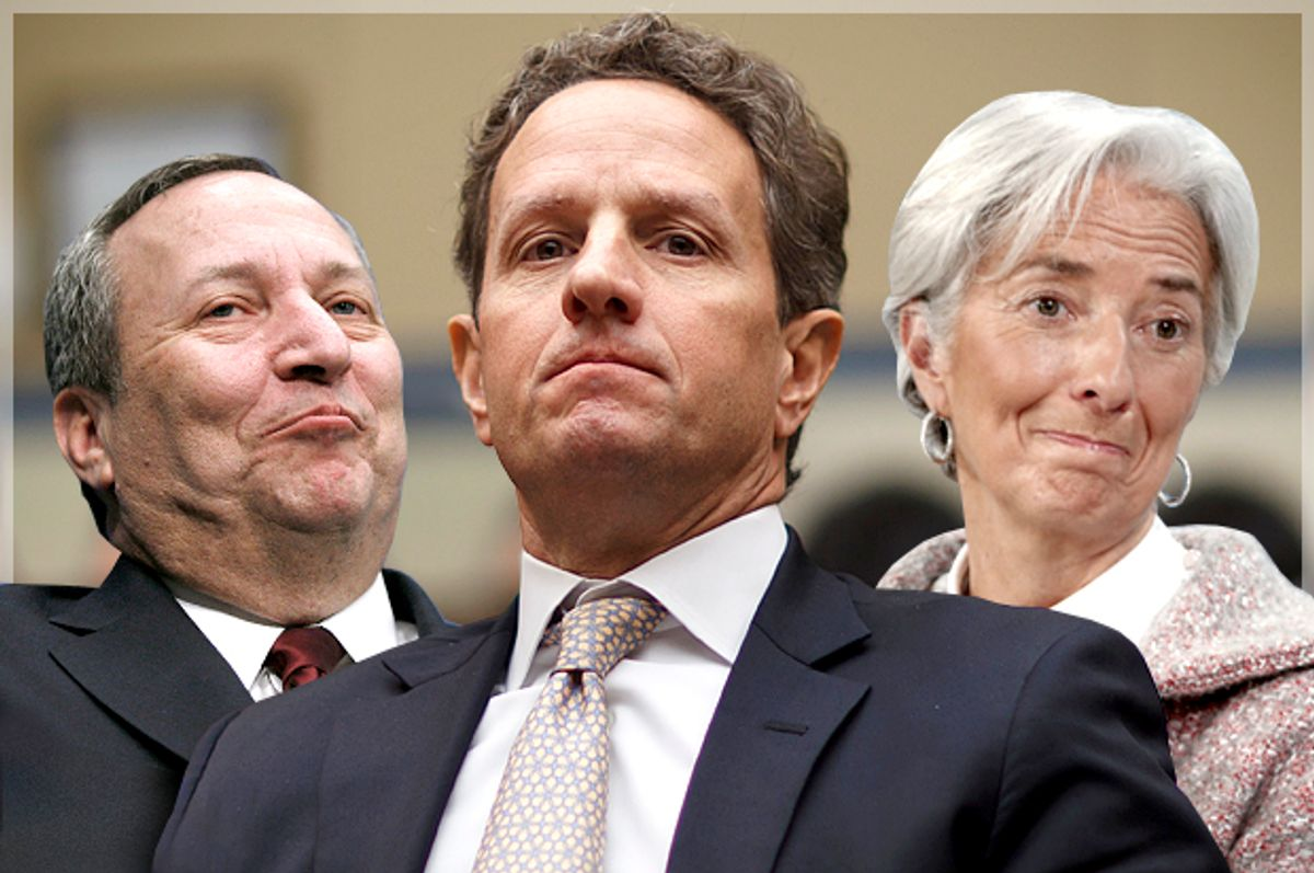 Lawrence Summers, Timothy Geithner, Christine Lagarde    (AP/Reuters/Molly Riley/J. Scott Applewhite/Ruben Sprich/Photo montage by Salon)