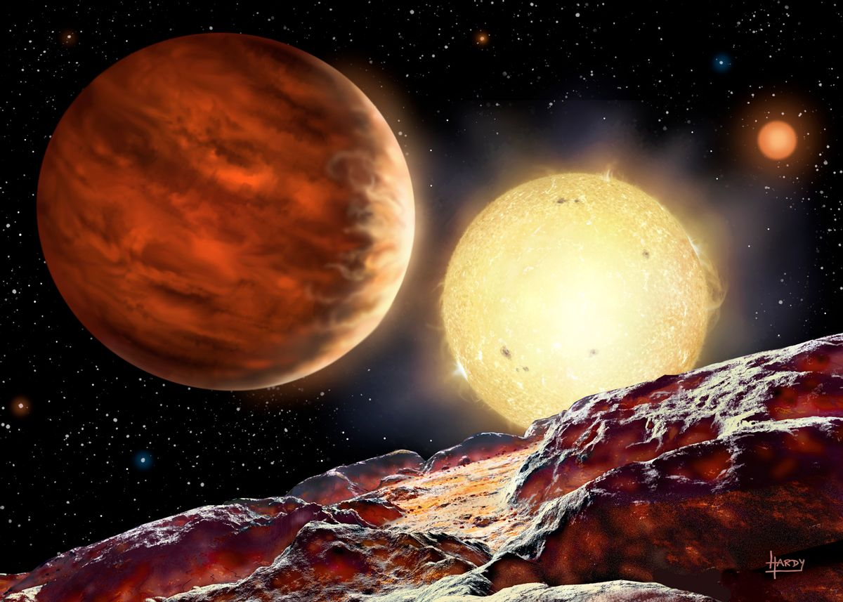 An artist's rendering of the star   (David A. Hardy)