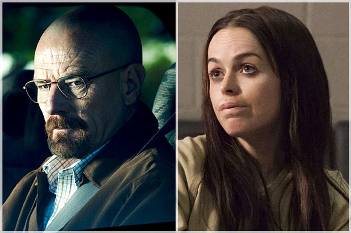 "Bryan Cranston in ""Breaking Bad,"" Taryn Manning in ""Orange Is the New Black""      (AMC/Netflix)"