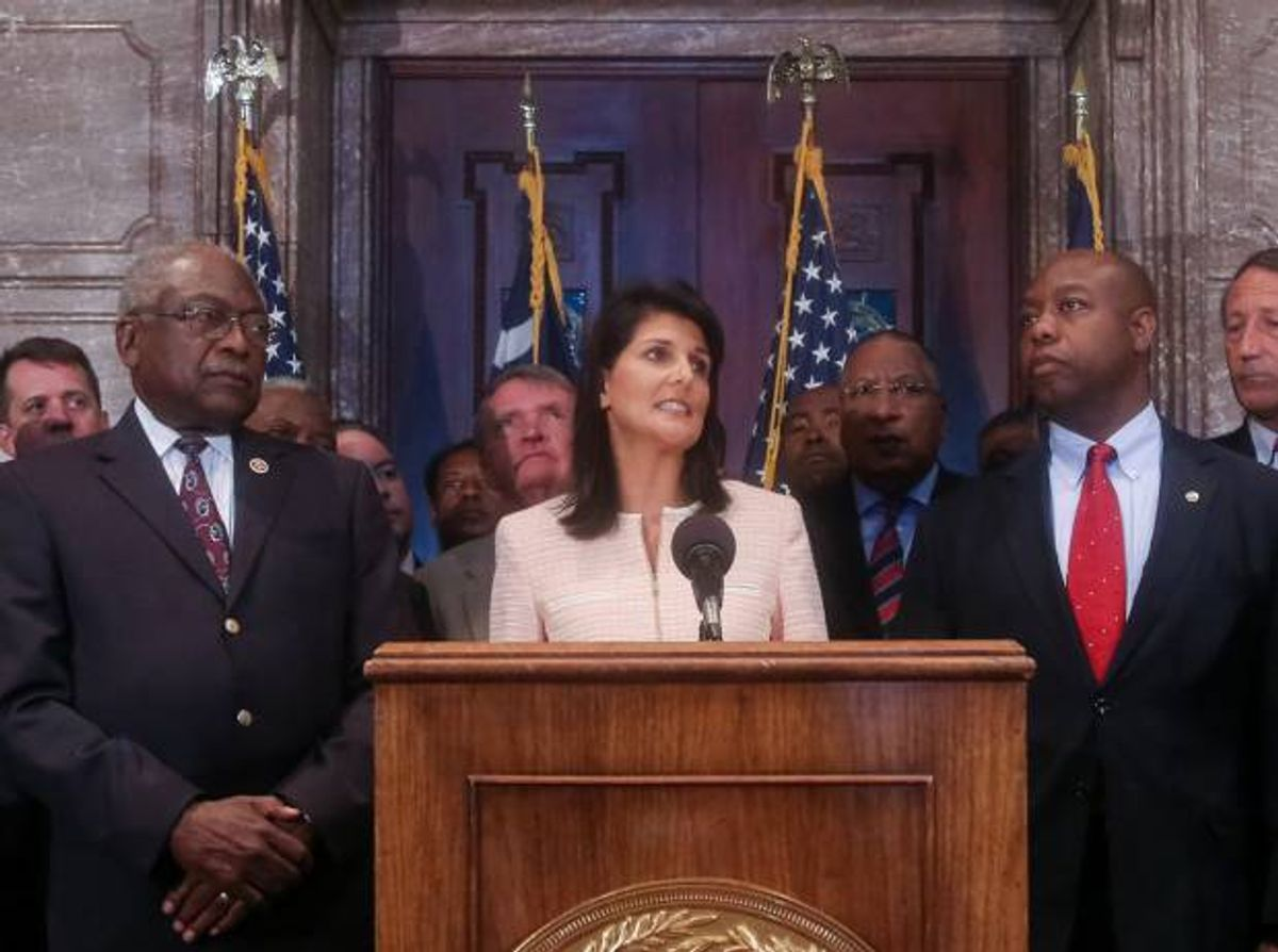 South Carolina Gov. Nikki Haley speaks during a news conference in the South Carolina State House, Monday, June 22, 2015, in Columbia, S.C.  (Tim Dominick/The State via AP)