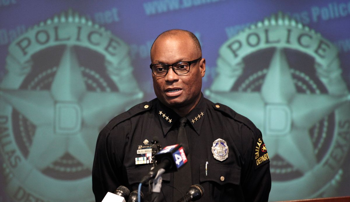 FILE - In this Nov. 17, 2011,  file photo, Dallas Police Chief David Brown speaks during a news conference at police headquarters in Dallas. Dallas police say one or more suspects opened fire on police headquarters early Saturday morning, June 13, 2015, rammed a police car and fled to a fast food restaurant just off interstate 45 outside the city where they are engaged in a standoff with police. Police Chief Brown tells a news confrerence that preliminary witness statements suggest there may have been other assailants firing from elevated locations.  (AP Photo/LM Otero, File) (AP)