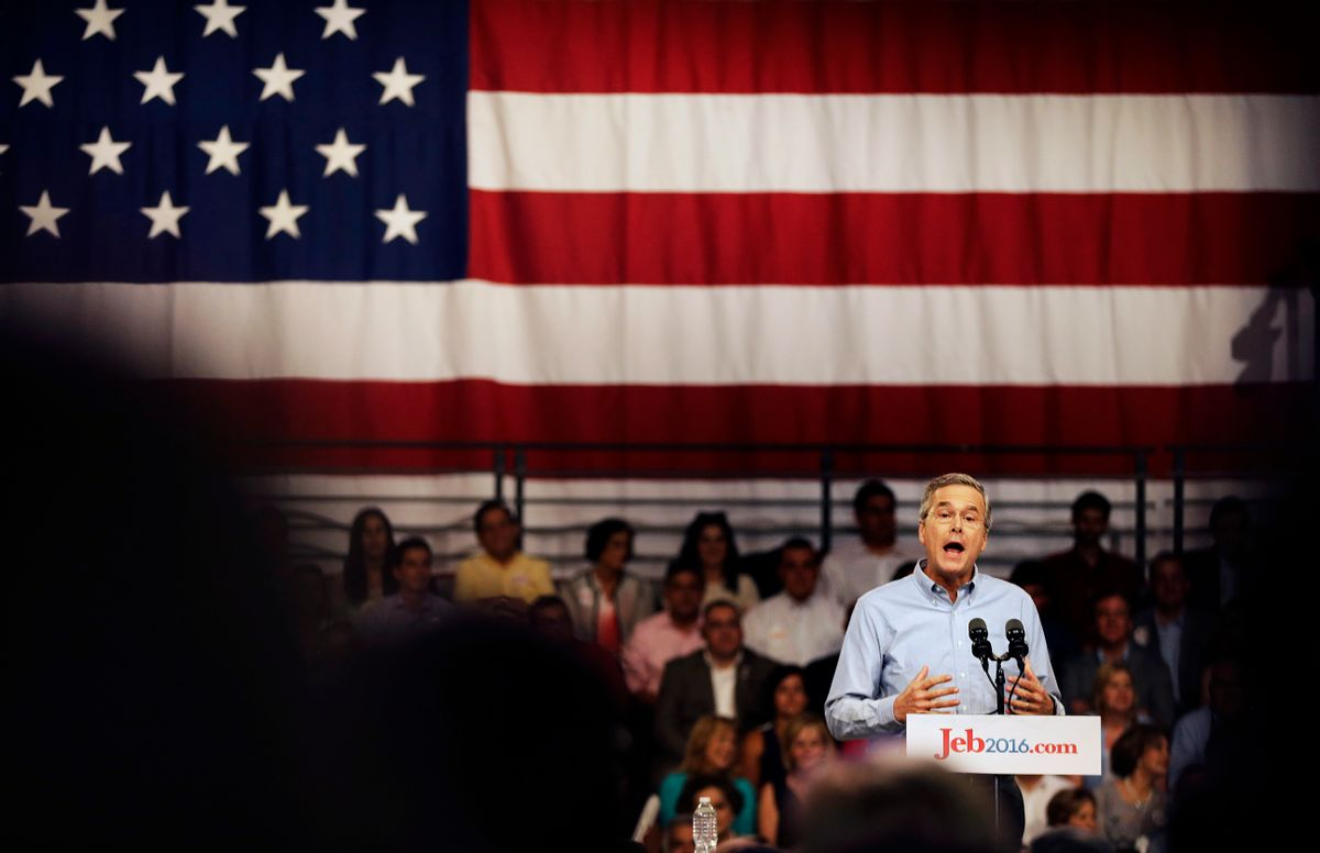 Former Florida Gov. Jeb Bush formally joins the race for president with a speech at Miami Dade College, Monday, June 15, 2015, in Miami. (AP Photo/David Goldman) (AP)
