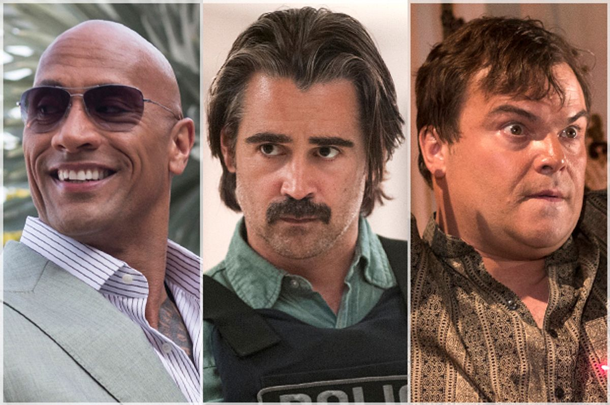 """Dwayne Johnson in """"Ballers,"""" Colin Farrell in """"True Detective,"""" Jack Black in """"The Brink""""      (HBO)"""