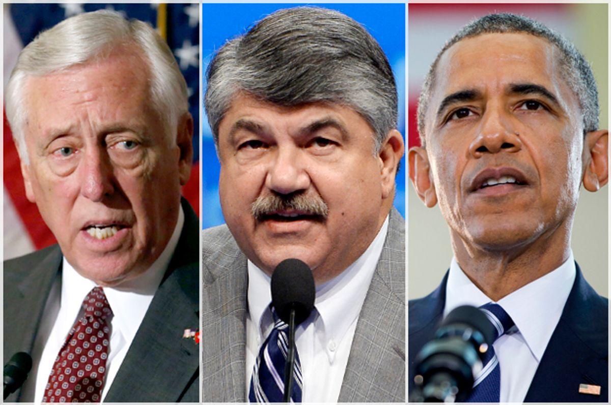 Steny Hoyer/Richard Trumka/Barack Obama        (AP/Reuters/Yuri Gripas/Kevork Djansezian/Pablo Martinez Monsivais)