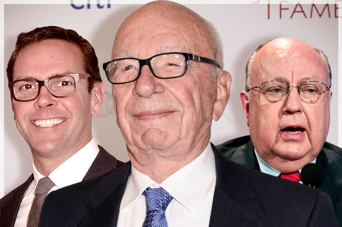 James Murdoch, Rupert Murdoch, Roger Ailes           (AP/Dan Steinberg/Reed Saxon/Photo montage by Salon)