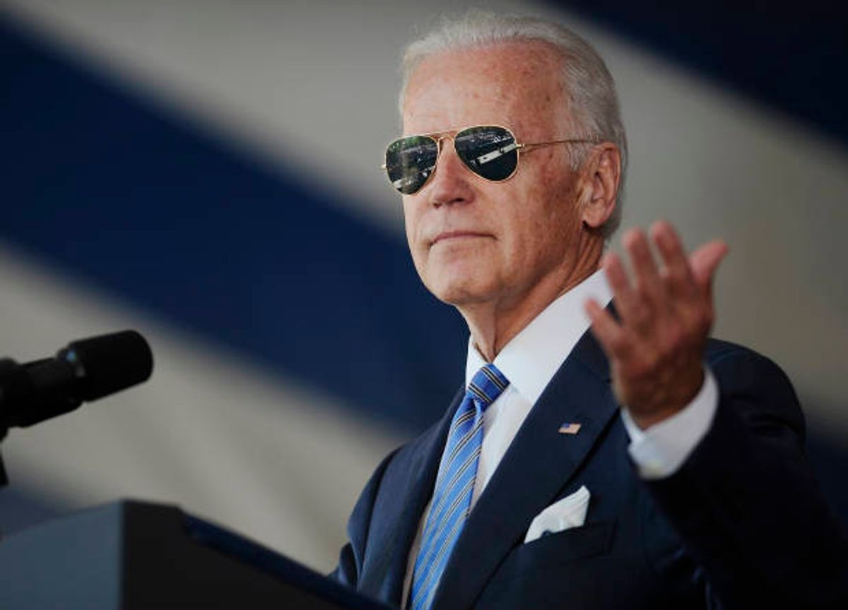 FILE - In this May 17, 2015, file photo, Vice President Joe Biden gestures after donning a pair of sunglasses as he delivers the Class Day Address at Yale University in New Haven, Conn. Graduation season is winding down but among the eight commencement addresses given this year by three of the biggest names, President Barack Obama, first lady Michelle Obama and Vice President Joe Biden, a few moments stood out that may last a little longer. (AP Photo/Jessica Hill, File) (AP)