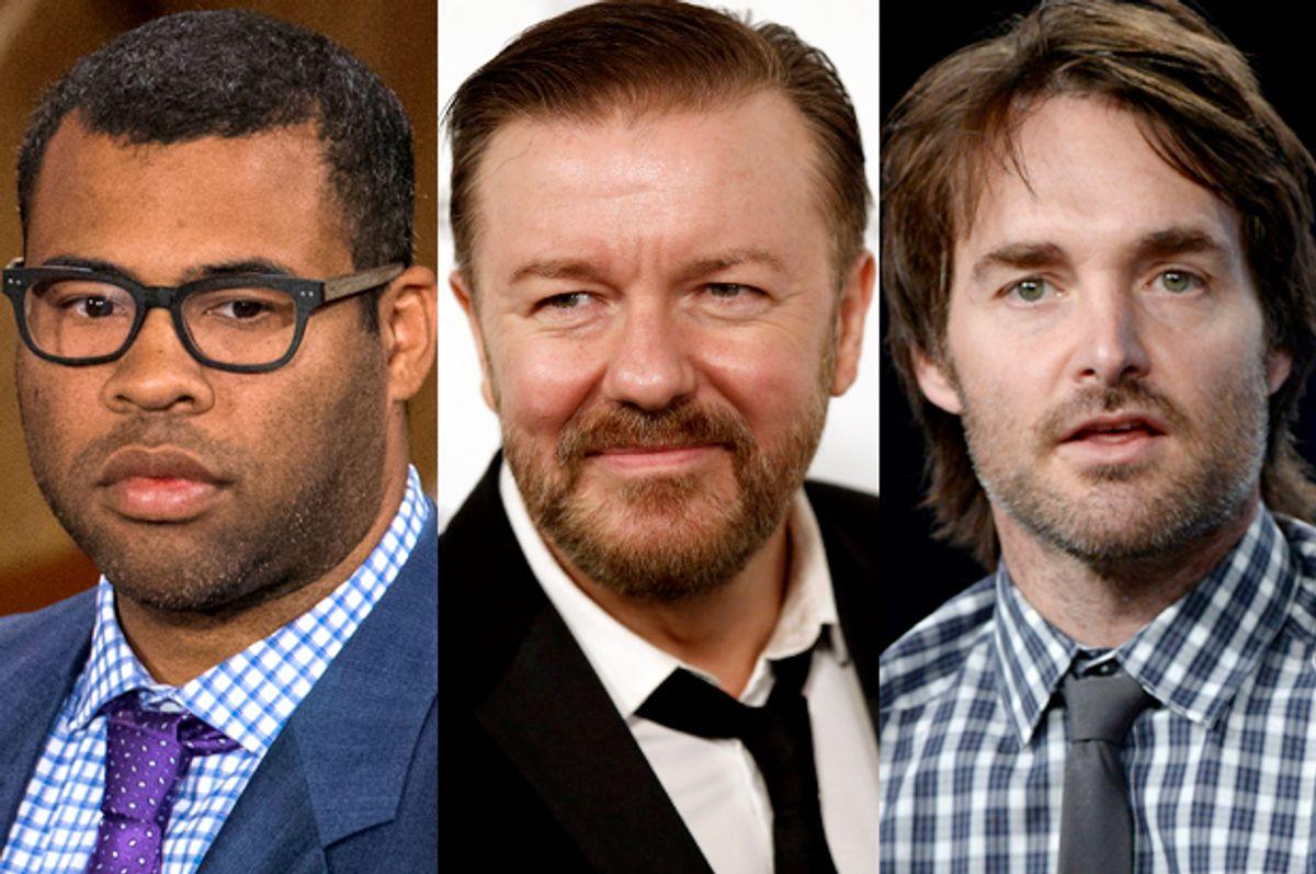 Jordan Peele, Ricky Gervais, Will Forte      (Reuters/Lucas Jackson/Patrick Fallon/Kevork Djansezian)