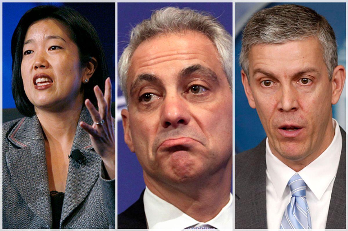 Michelle Rhee, Rahm Emanuel, Arne Duncan       (Reuters/Hyungwon Kang/Yuri Gripas/Larry Downing)