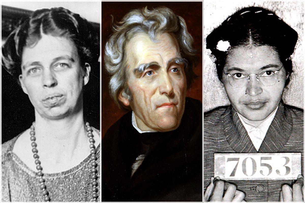 Eleanor Roosevelt, Andrew Jackson, Rosa Parks    (AP/Wikimedia)