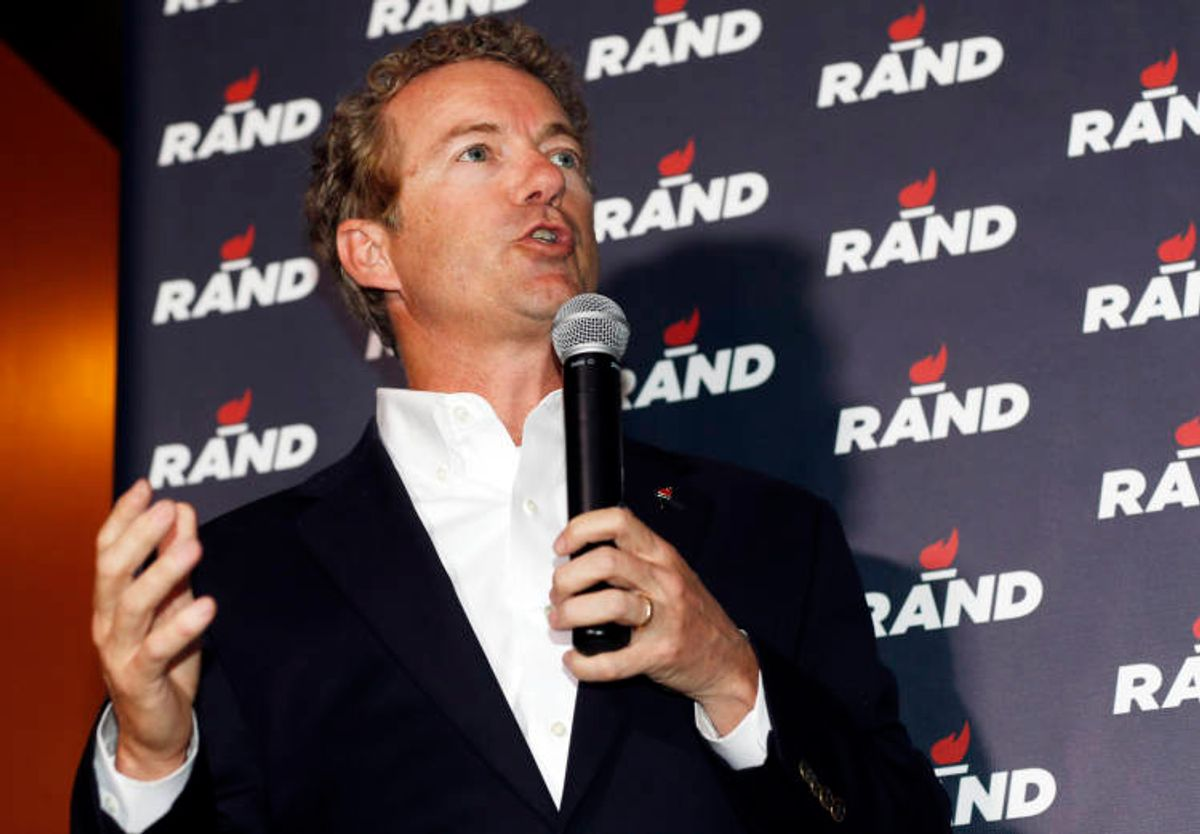 In this photograph taken Tuesday, June 30, 2015, Republican presidential hopeful Sen. Rand Paul of Kentucky speaks during a campaign stop at a sports bar in the Cherry Creek area in Denver. (AP Photo/David Zalubowski) (AP)