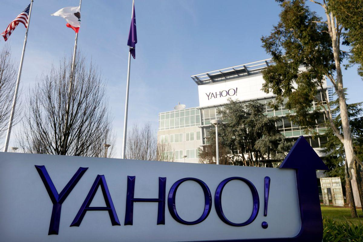 This Jan. 14, 2015 photo shows signage outside Yahoo's headquarters in Sunnyvale, Calif. (AP Photo/Marcio Jose Sanchez) (AP)