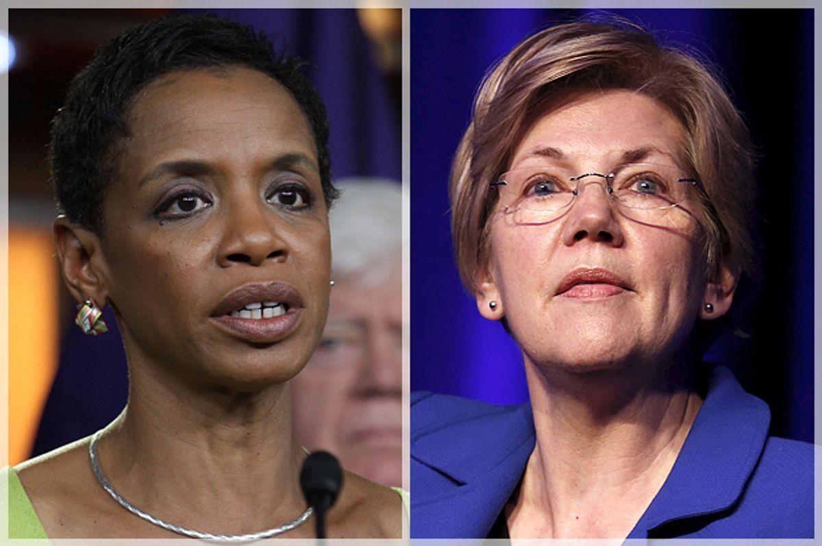 Donna Edwards, Elizabeth Warren     (AP/Lauren Victoria Burke/Reuters/Yuri Gripas)
