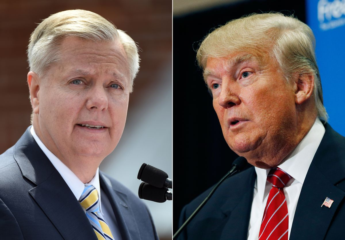 """In this combination made from file photos, Republican presidential candidate, U.S. Sen. Lindsey Graham, R-S.C., left, speaks in Central, S.C., and fellow Republican candidate, real estate mogul Donald Trump, speaks in Las Vegas. In response to Trump's recent derogatory comments about Mexican immigrants, Graham says his rival is a """"wrecking ball"""" for the future of the GOP with Hispanic voters, and is calling on the party to push back. (AP Photo/Rainier Ehrhardt, John Locher, File) (AP)"""