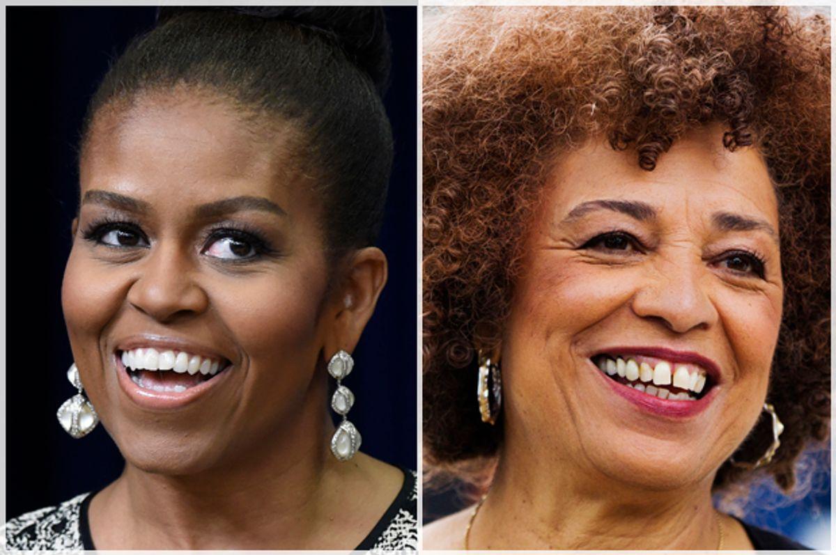 Michelle Obama, Angela Davis   (AP/Susan Walsh/Reuters/Mark Blinch)