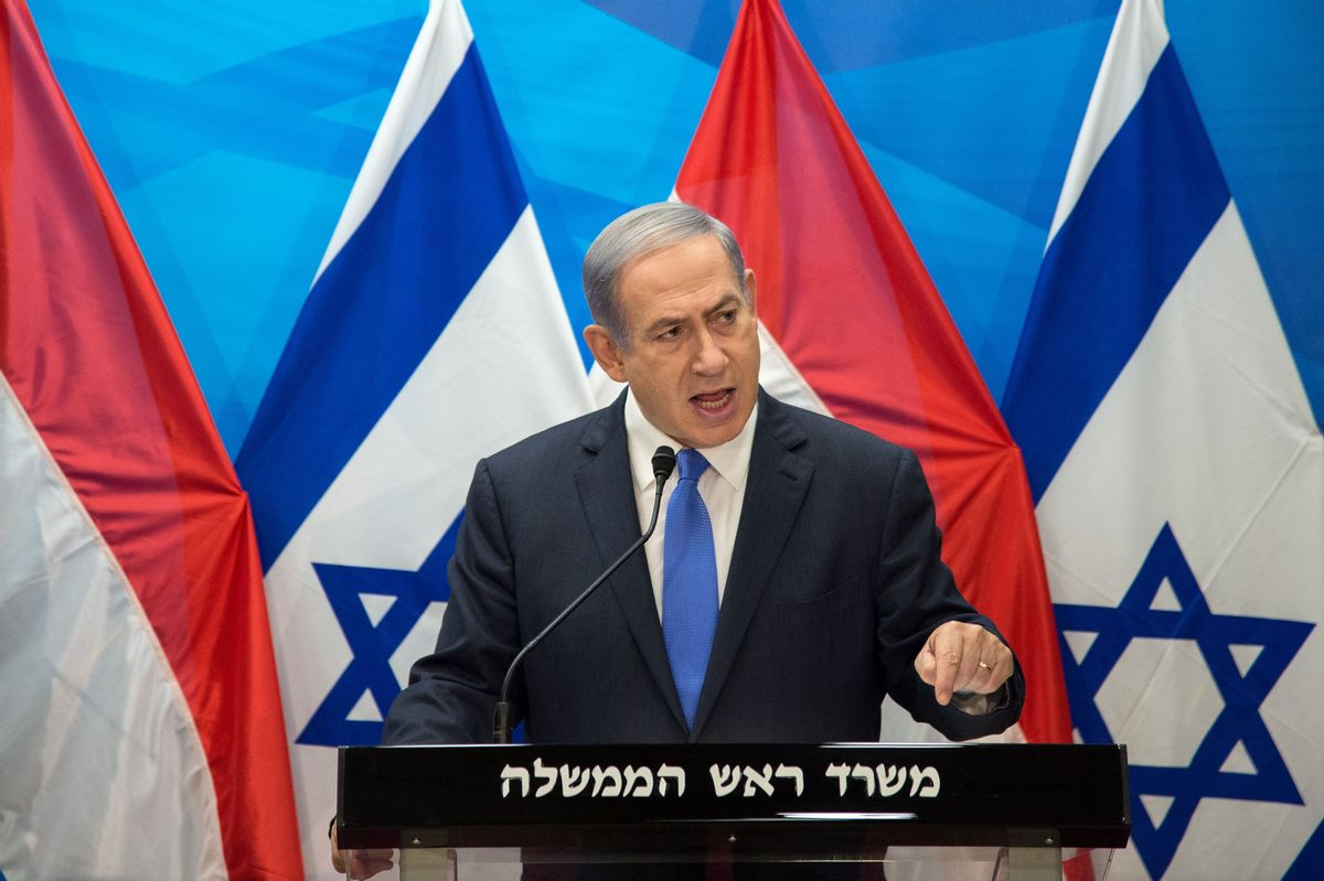 Israel's Prime Minister Benjamin Netanyahu speaks during a press conference with Dutch Foreign Minister Bert Koenders at the Prime Minister's office in Jerusalem, Tuesday, July 14, 2015. (Ahikam Seri/Pool Photo via AP) (AP)