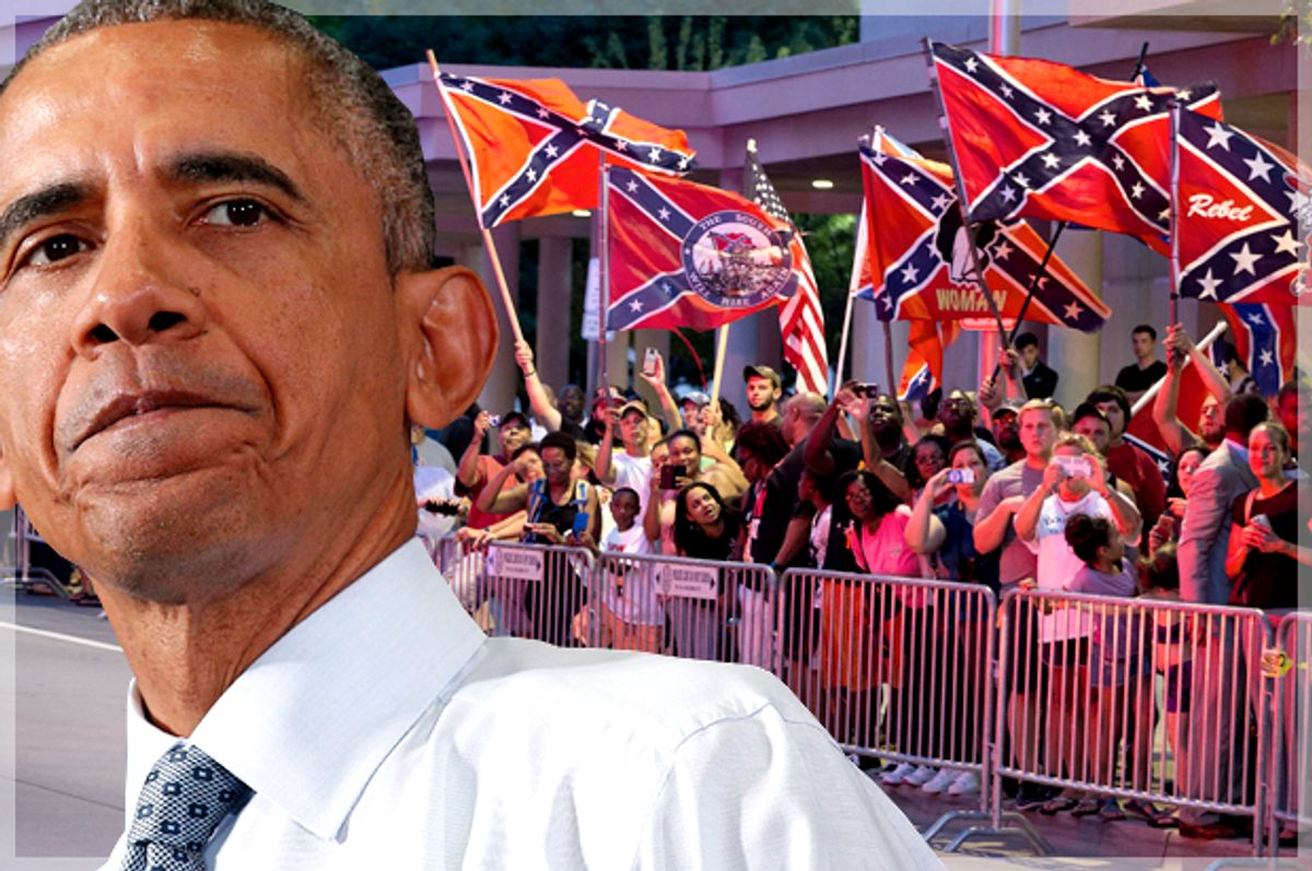 Barack Obama; Confederate flags outside his hotel, July 15, 2015, in Oklahoma City.         (Reuters/Kevin Lamarque/AP/Evan Vucci/Photo montage by Salon)