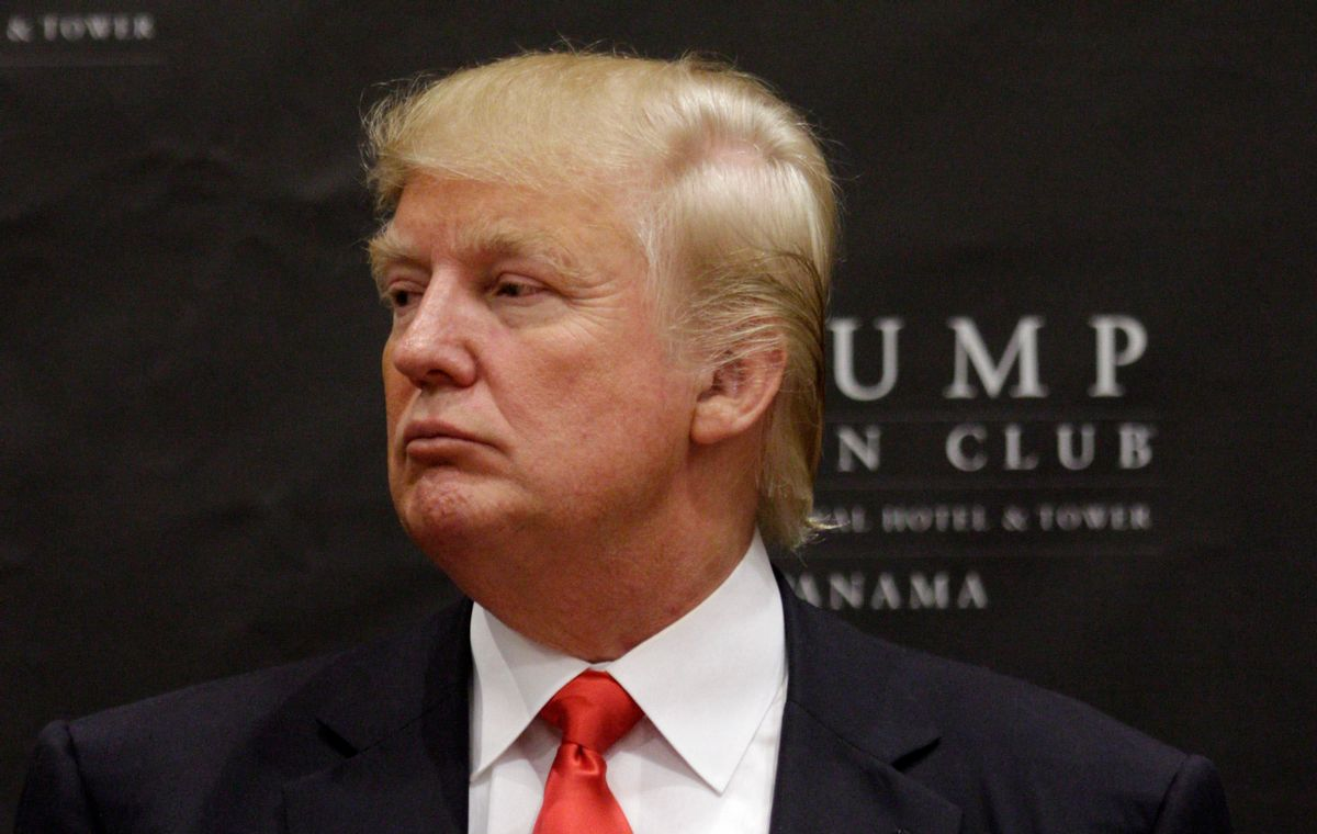 FILE - In this July 6, 2011 file photo, U.S. tycoon Donald Trump attends the inauguration ceremony of the Trump Ocean Club International Hotel and Tower in Panama City. The Miss Panama Organization and the Telemetro television channel say they won't participate in or broadcast the Miss Universe contest partly owned by Trump, joining several other Latin American nations in dropping out of the pageant in protest over his comments about Mexican immigrants. (AP Photo/Arnulfo Franco, File) (AP)