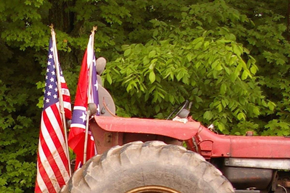 """(<a href=""""http://www.watershedpost.com/2015/delaware-county-fair-wont-ban-confederate-flags"""">Watershed Post</a>/Julia Reischel)"""