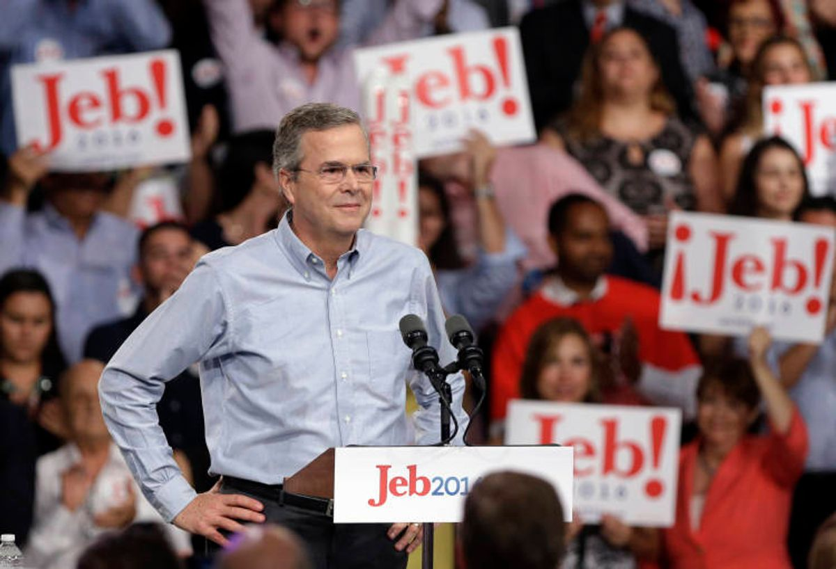 In this photo taken K=June 15, 2015, former Florida Gov. Jeb Bush stands on the stage before  announcing his bid for the Republican presidential nomination, at Miami Dade College in Miami. In his first Spanish-language television network interview since launching his 2016 presidential campaign, Republican presidential candidate Jeb Bush fielded a wide range of questions, from the upcoming GOP debate to Donald Trump, from Latin American foreign policy to his taste in music, and whether he had ever experienced discrimination. (AP Photo/Lynne Sladky) (AP)