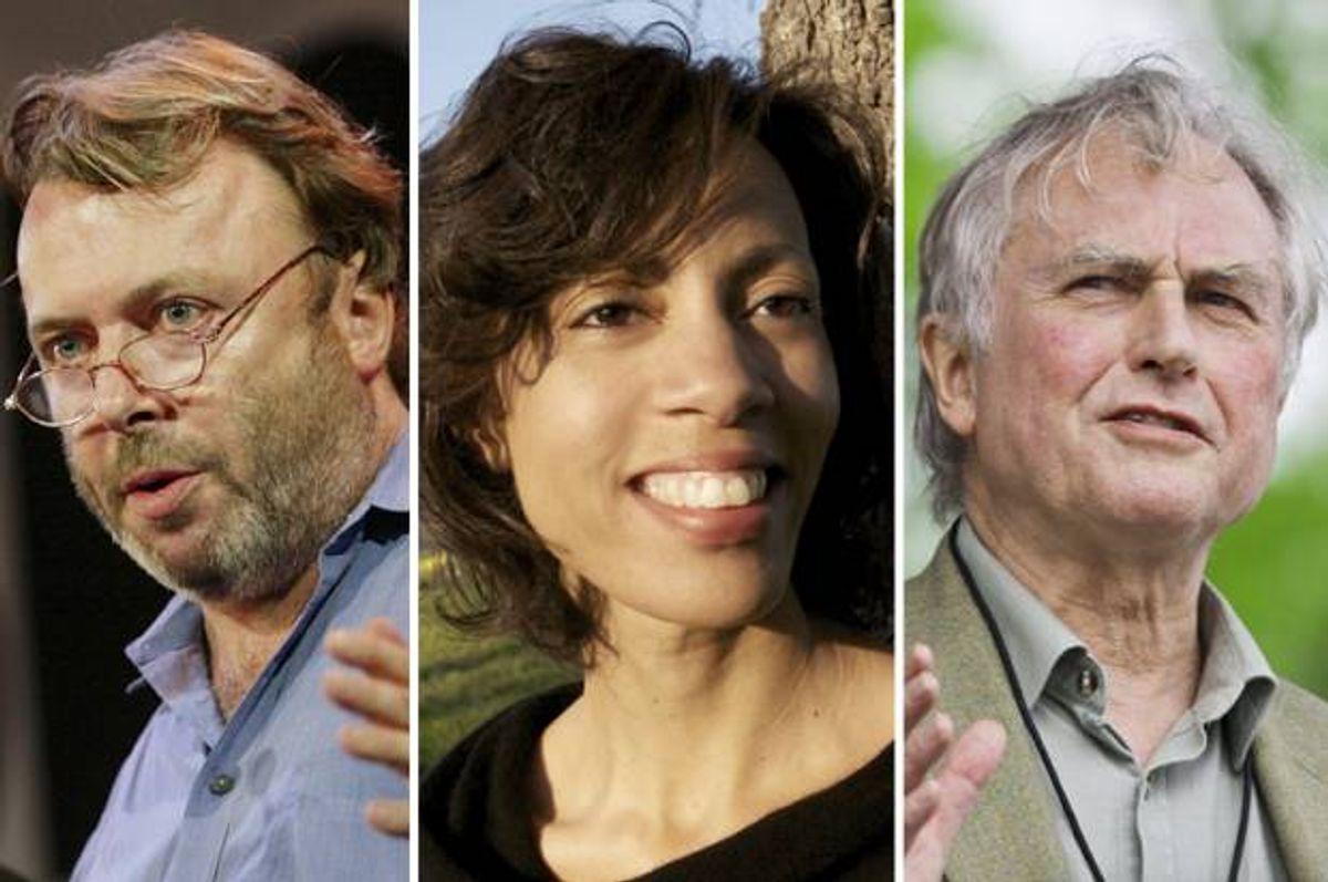 (Christopher Hitchens, Sikivu Hutchinson, Richard Dawkins (Credit: Reuters/Shannon Stapleton/Facebook/Chris Keane/Diane Arellano))
