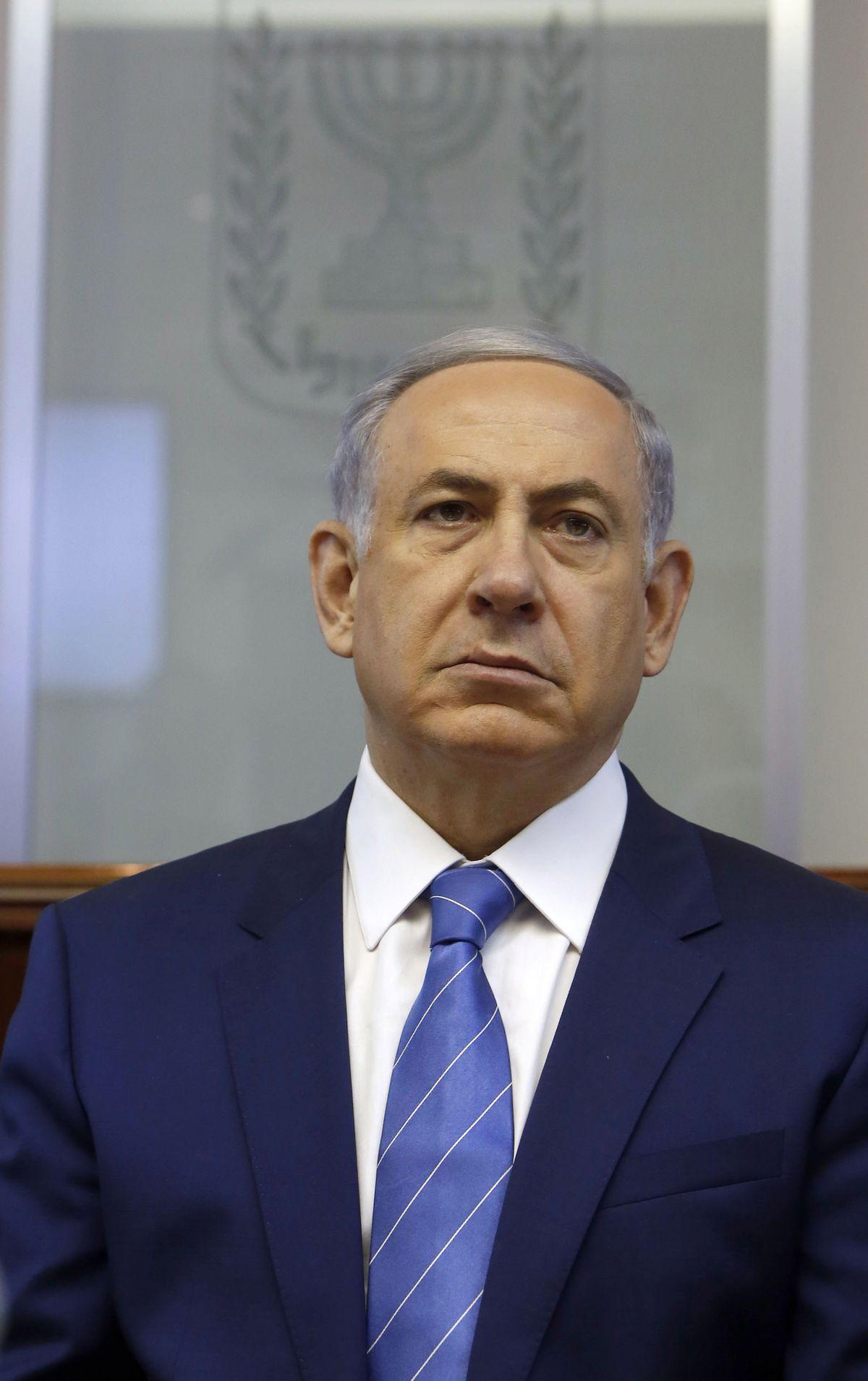 Israel's Prime Minister Benjamin Netanyahu chairs the weekly cabinet meeting in Jerusalem, Sunday, Aug. 2, 2015. (Gali Tibbon/Pool Photo via AP) (AP)