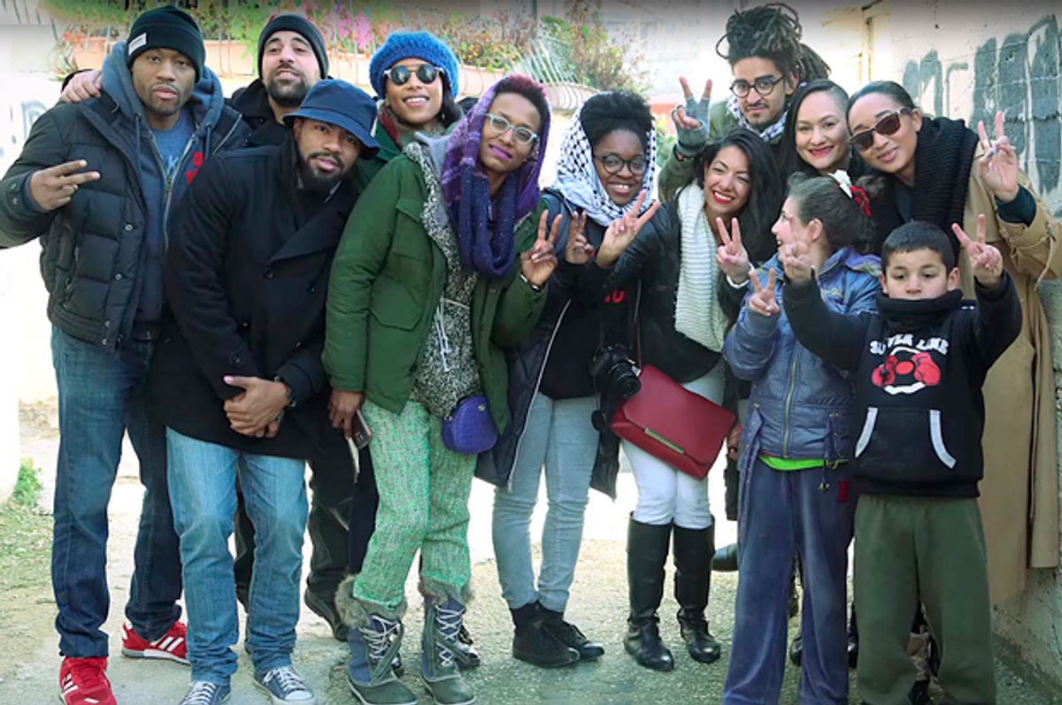 Activists from Black Lives Matter, the Dream Defenders, and Ferguson on an historic trip in Palestine <br> (Credit: Christopher Hazou / YouTube / Black-Palestinian Solidarity)