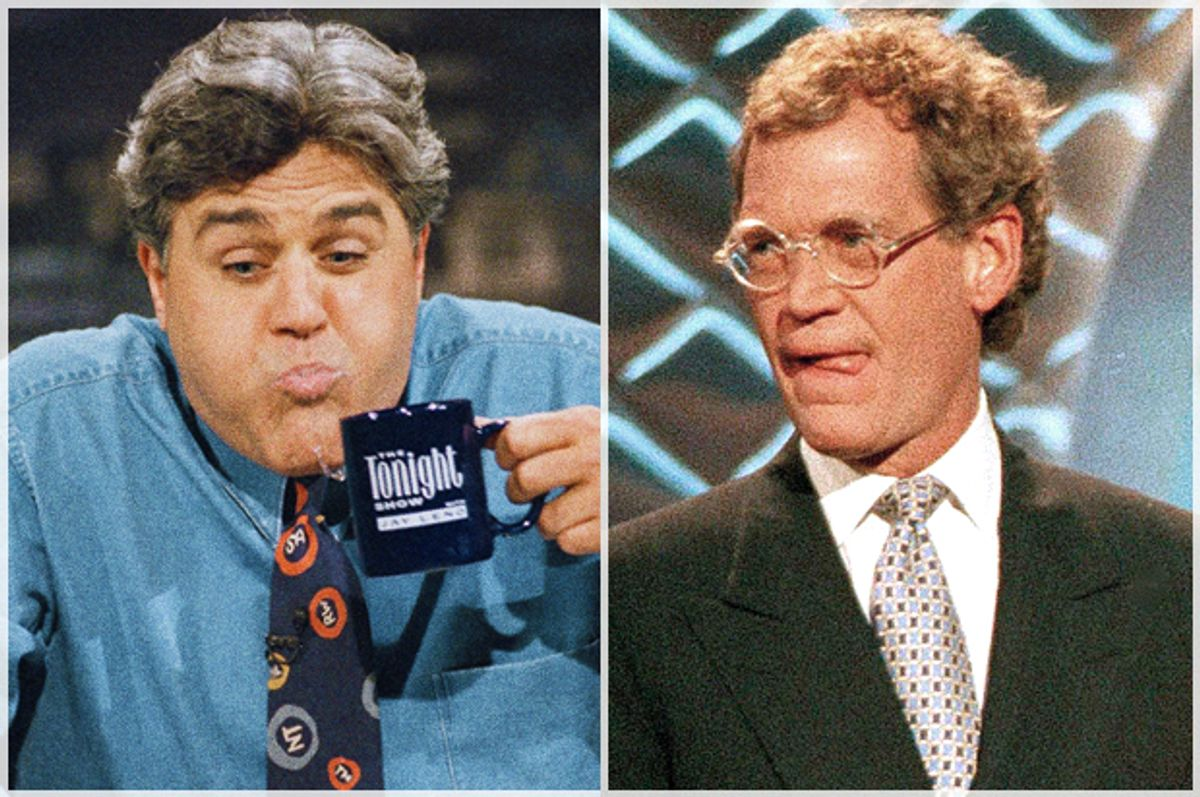 Jay Leno, David Letterman   (AP/Kevork Djansezian/Bebeto Matthews)