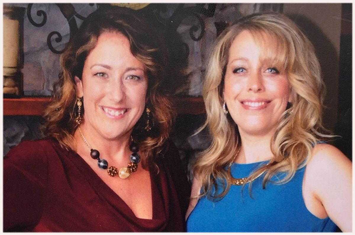 A photo of the author (L) and her sister Beth (R).