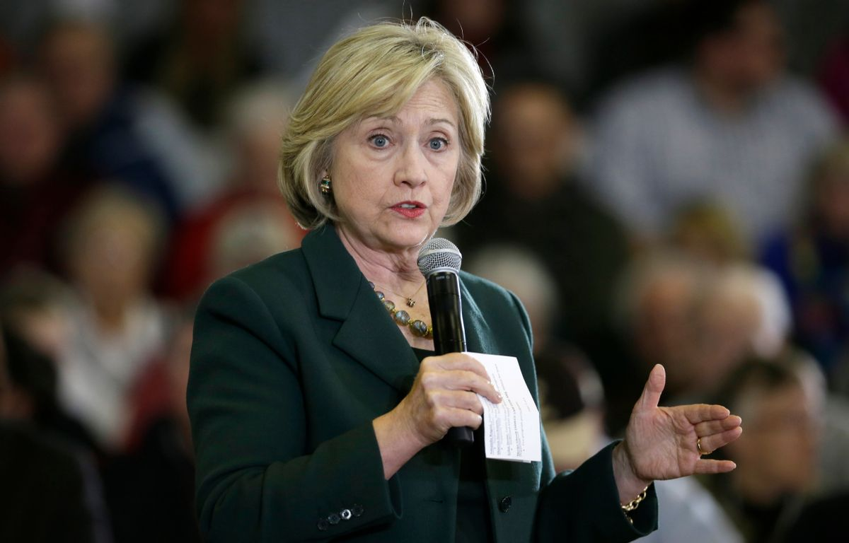 Democratic presidential candidate Hillary Clinton speaks during a town hall meeting Wednesday, Dec. 16, 2015, in Mason City, Iowa. (AP Photo/Charlie Neibergall) (AP)