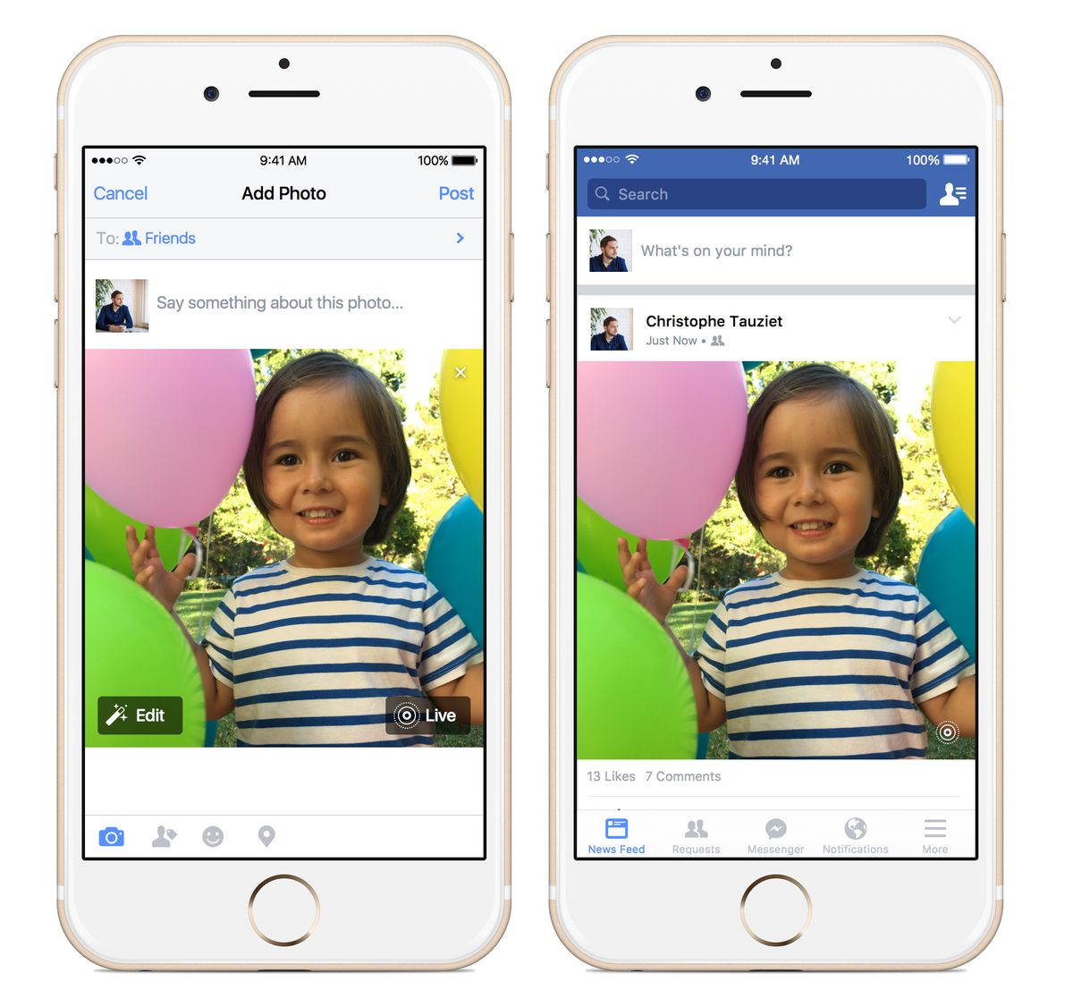 FILE - This file photo provided by Apple and Facebook demonstrates the posting of an animated photo using Facebook's new app, left, and the viewing of it, right, on an iPhone. The latest iPhones come with the ability to turn still images into video, known as Live Photos. (Courtesy of Apple and Facebook via AP, File) (AP)