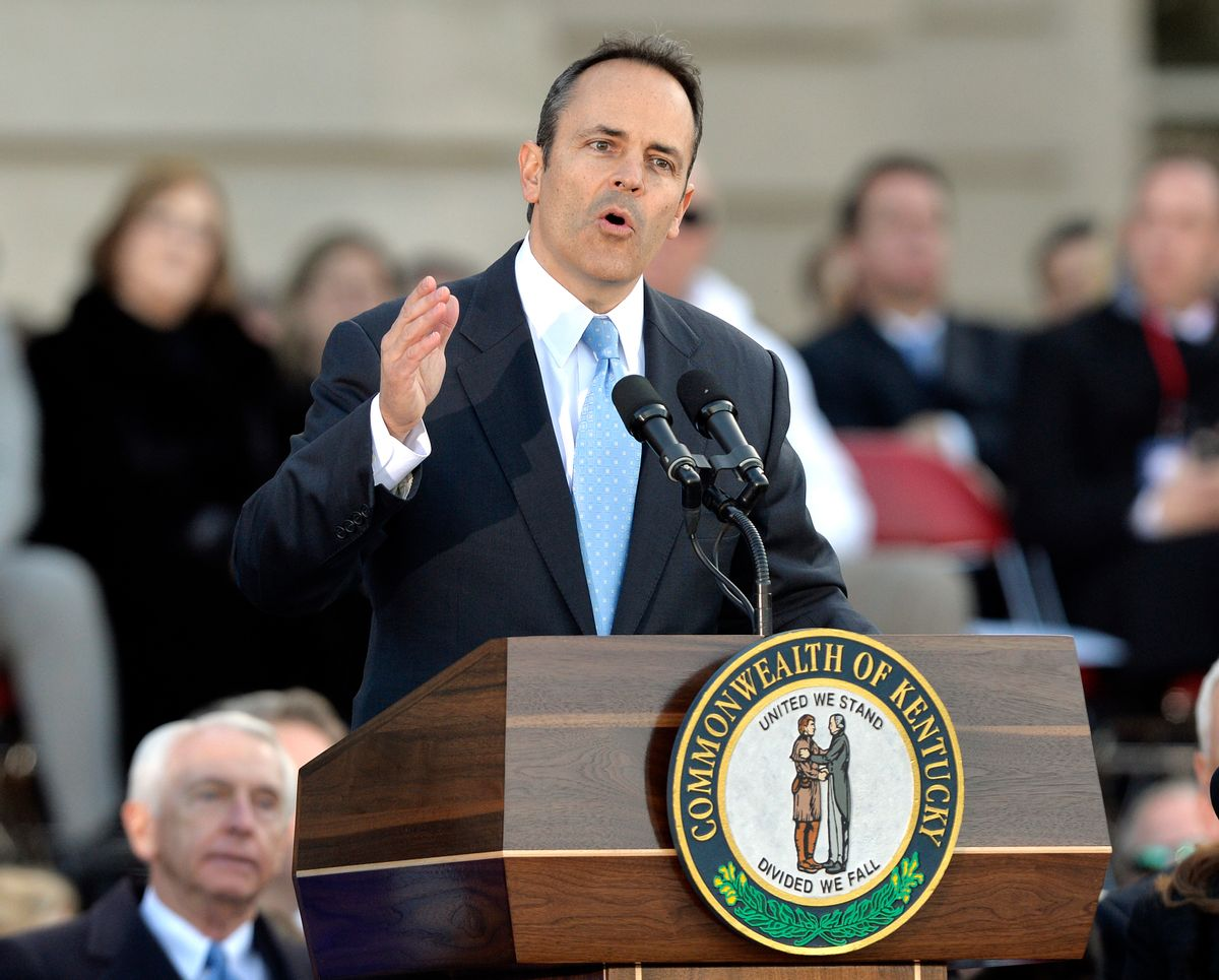 FILE - In this Dec. 8, 2015, file photo, Kentucky Gov. Matt Bevin speaks to the spectators gathered on the steps of the Kentucky Capitol following his public swearing in ceremony, in Frankfort, Ky. Bevin ordered the state to prepare new marriage licenses that do not include the names of county clerks in an attempt to protect the religious beliefs of clerk Kim Davis and other local elected officials. It was one of five executive orders he issued Tuesday, Dec. 22, 2015, the first of his administration, that mostly revised or suspended recent actions by former Democratic Gov. Steve Beshear. (AP Photo/Timothy D. Easley, File) (AP)
